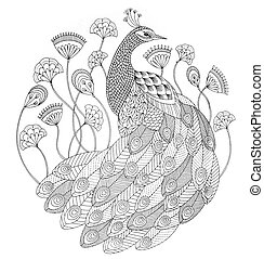 black and white drawing, seamless pattern, illustration