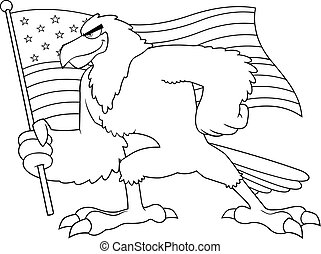Black And White Eagle Bird Cartoon Character Waving American Flag