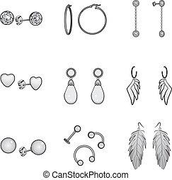 Black And White Earrings Set - Black and white illustration ...