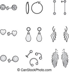 Black And White Earrings Set - Black and white illustration...