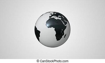 Black and White Earth Globe Handmade Model Spinning. Earth...