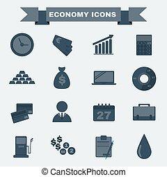Black and white Economy icon set