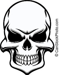 Black and white eerie human skull, eerie frontal view for...