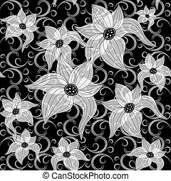 Black and white effortless floral pattern
