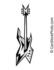 Black and white electric guitar.