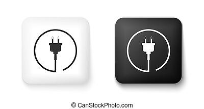 Black and white Electric plug icon isolated on white background. Concept of connection and disconnection of the electricity. Square button. Vector