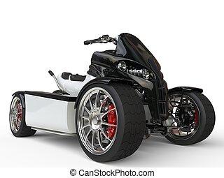 Black and white electric quad bike