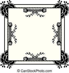 Black and white elegant leaves and flowers, border with frame, ornate of cards. Vector