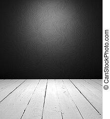 Grungy floor and luxury wallpaper it is empty interior