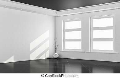 Black and white empty room