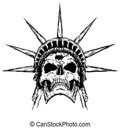 black and white engrave evil skull face - black and white...