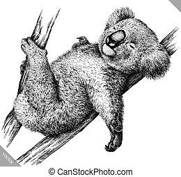black and white engrave isolated Koala vector illustration -...
