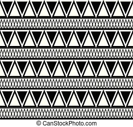 Black and white ethnic pattern of triangles. Vector boho texture
