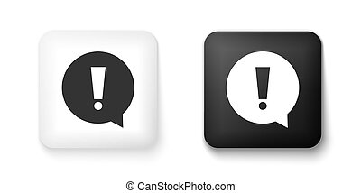 Black and white Exclamation mark in circle icon isolated on white background. Hazard warning symbol. Square button. Vector