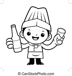 Black And White Executive Chef Mascot holding a distilled spirits toast. Vector illustration isolated on white background.