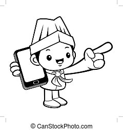 Black And White Executive Chef Mascot is holding a Smartphone. Vector illustration isolated on white background.