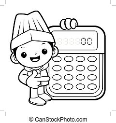 Black And White Executive Chef Mascot is instructing holding a calculator. Vector illustration isolated on white background.