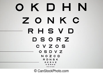 black and white eye chart for eye exam