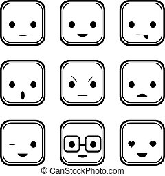 Black And White Face Expression Icons