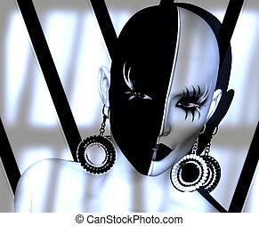 Black and white face make up