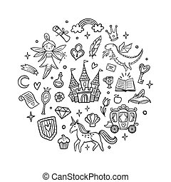 Black and white fairy tale objects. Cute hand-drawn cartoon castle, dragon, unicorn, fairy and other elements. Doodle Vector Illustration. Good for a sticker, indie game, greeting card, badges, children wallpaper or coloring page