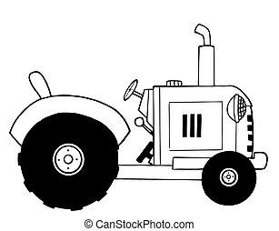 Farm Tractor - Black And White Farm Tractor