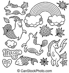 Black and white fashion patch badge elements in cartoon 80s-90s comic style. Set modern trend doodle sketch with rainbow unicorns. Vector clip art illustration isolated.