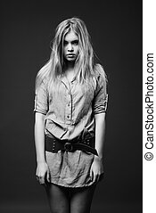 Black and white fashion portrait of young woman