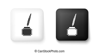 Black and white Feather and inkwell icon isolated on white ...