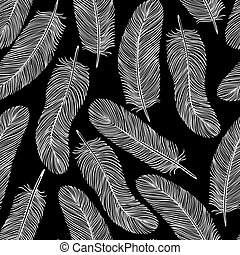 black-and-white Feather seamless background