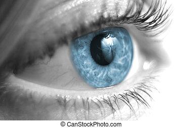 Black and White Female Eye Closeup with Blue Iris