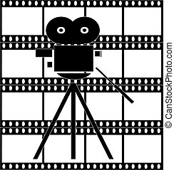 black and white filmstrip with movie camera background