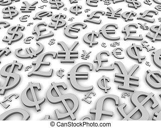 Black and white financial symbols background. 3d rendered illustration