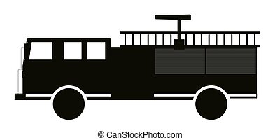 Black and White Fire Truck Flat Design. Vector Illustration....