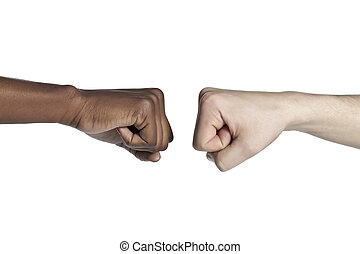 black and white fist bump