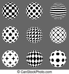 Black and white flat design patterned sphere vector design elements.