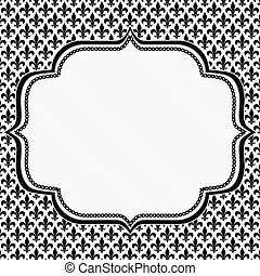 Black and White Fleur De Lis Pattern Textured Fabric with...