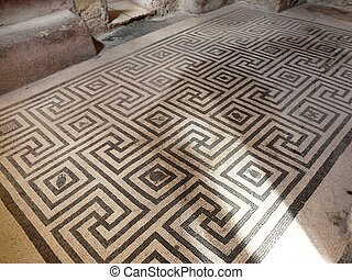 Black and white floor mosaics at the ancient Roman city of...