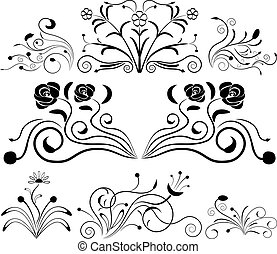 Black and white floral design elements.