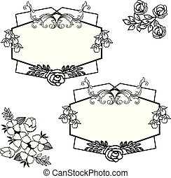 Black and white floral frame, border of background with place for text. Vector