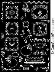 Black and white floral frames and decorative elements for wedding design