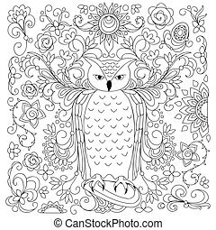 black and white floral owl for adult coloring