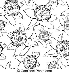 Black and white floral seamless pattern with contour flowers