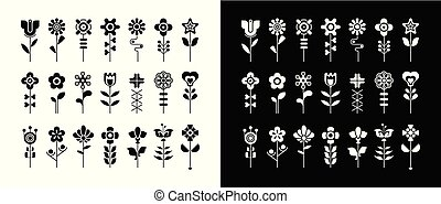 Black and white floral vector icon set