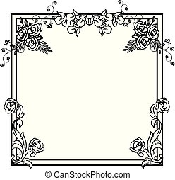 Black and white flower frame in retro style. Vector
