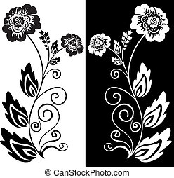 black and white flower - set of two black and white...