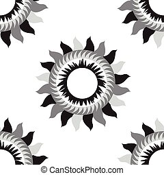 Black and white flower sun seamless