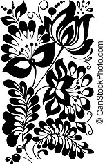 black and white flowers and leaves. Floral design element in retro style