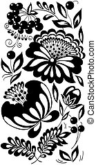black-and-white flowers, leaves and berries. Background painted in the old style