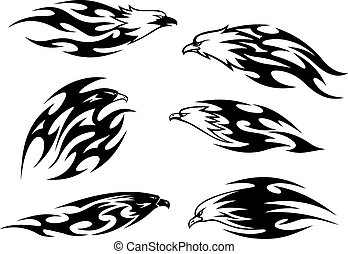 Black and white flying eagles tattoos